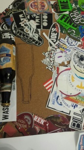 Beer stickers and stencil
